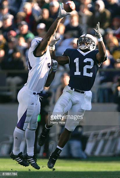 Michael Robinson of Penn State has the ball knocked away from him by Paul Posluszny of Northwestern in the third quarter at Beaver Stadium on...