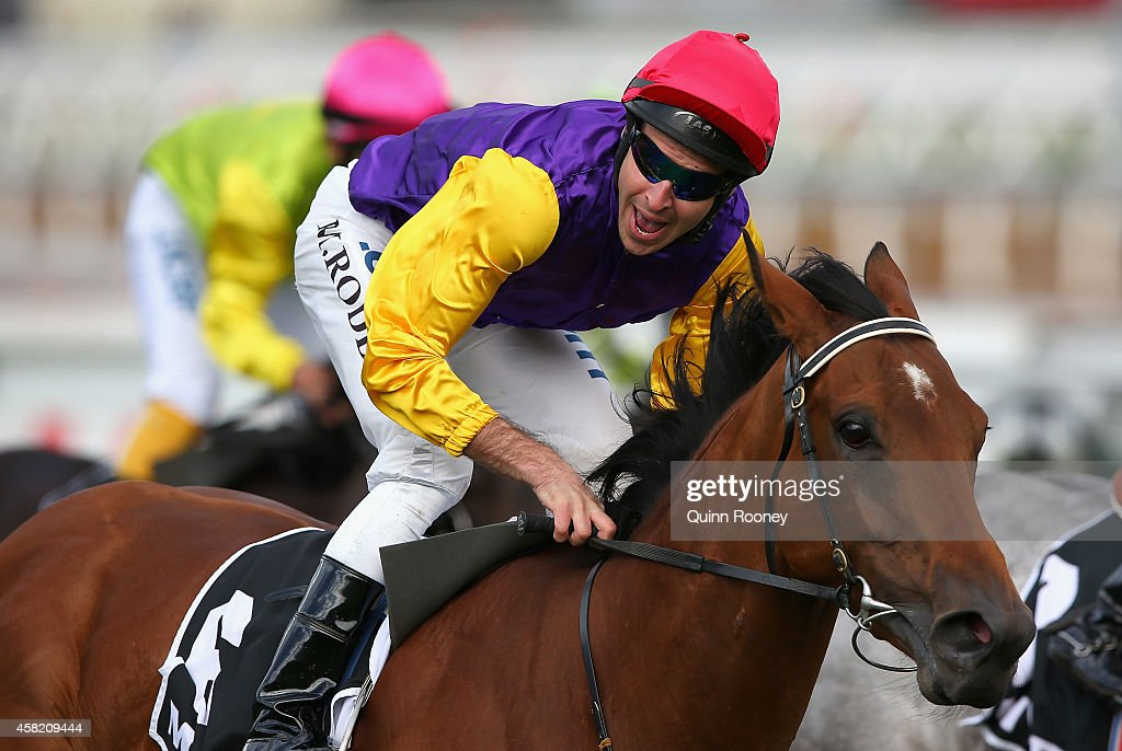 Michael Rodd riding Bonaria reacts after winning the Myer Classic on Derby Day at Flemington Racecourse on November 1, 2014 in Melbourne, Australia.