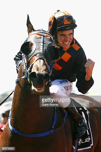 Michael Rodd riding Shocking celebrates winning the Lexus Stakes during the 2009 Victoria Derby Day meeting at Flemington Racecourse on October 31...