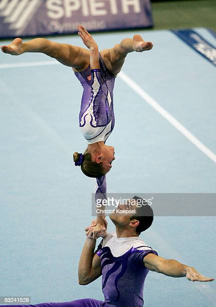 Michael Rodrigues and Clare Brunson of the USA compete in the sport acrobatics event during the World Games 2005 on July 15, 2005 in Duisburg,...