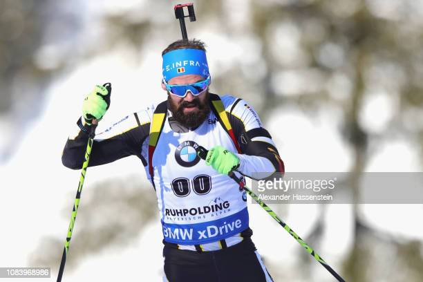 Michael Roesch of Belgium competes at the 10 km Men's Sprint during the IBU Biathlon World Cup at Chiemgau Arena on January 17 2019 in Ruhpolding...