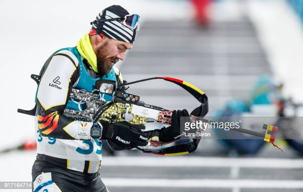 Michael Roesch of Belgium shoots during the Men's 10km Sprint Biathlon on day two of the PyeongChang 2018 Winter Olympic Games at Alpensia Biathlon...