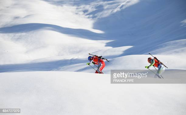 Michael Roesch of Slovakia competes during the FIS Biathlon World Championships Men's 10 km Sprint in Hochfilzen on February 11, 2017. / AFP / FRANCK...