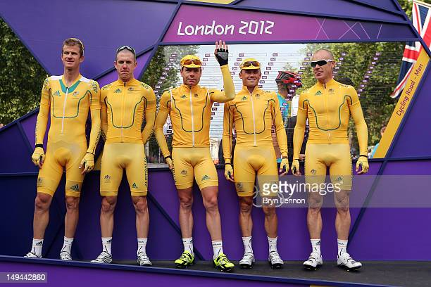 Michael Rogers Matthew Harley Goss Cadel Evans Simon Gerrans and Stuart O'Grady of Australia pose for photographs ahead of the Men's Road Race Road...