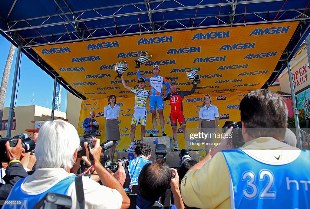 Michael Rogers of Australia and riding for HTC-Columbia in secondf place, David Zabriskie of the USA and riding for Garmin-Transitions in first place and Levi Leipheimer of the USA and riding for Radio Shack in third place take the podium after Stage Three of the 2010 Tour of California from San Francisco to Santa Cruz on May 18, 2010 in Santa Cruz County, California.