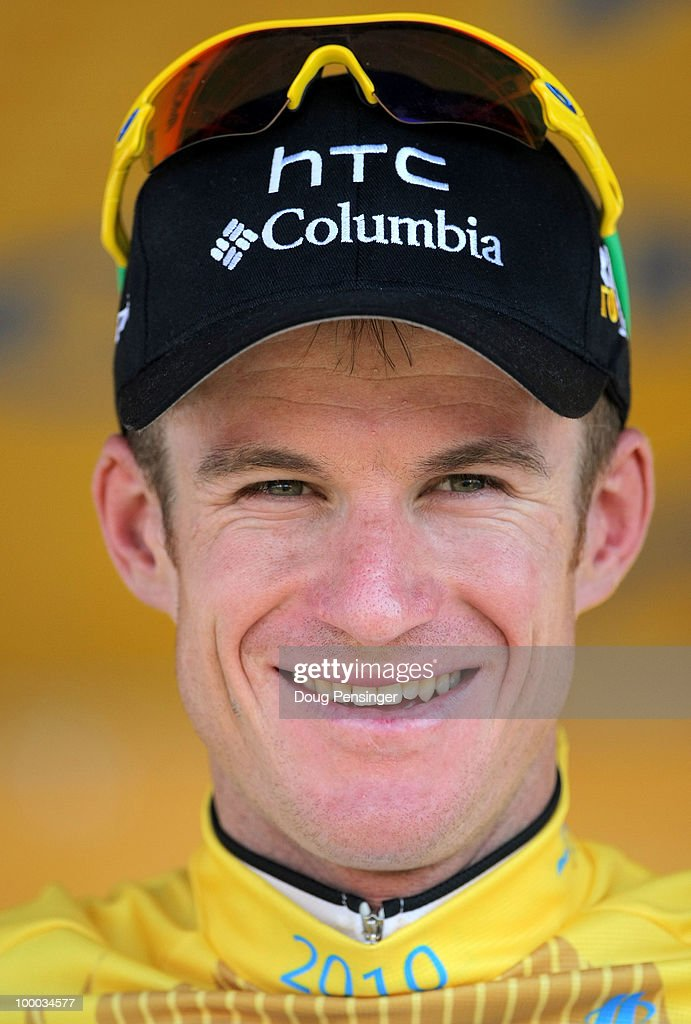 Michael Rogers of Australia and riding for HTC-Columbia takes the podium after he earned the race leader's golden jersey with his second place finish in Stage Five of the 2010 Tour of California from Visalia to Bakersfield on May 20, 2010 in Bakersfield, California.