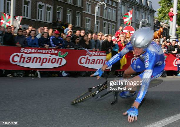 Michael Rogers of Australia and riding for Quick Step - Davitamon hits the ground as he falls during the prologue of the Tour de France on July 3,...