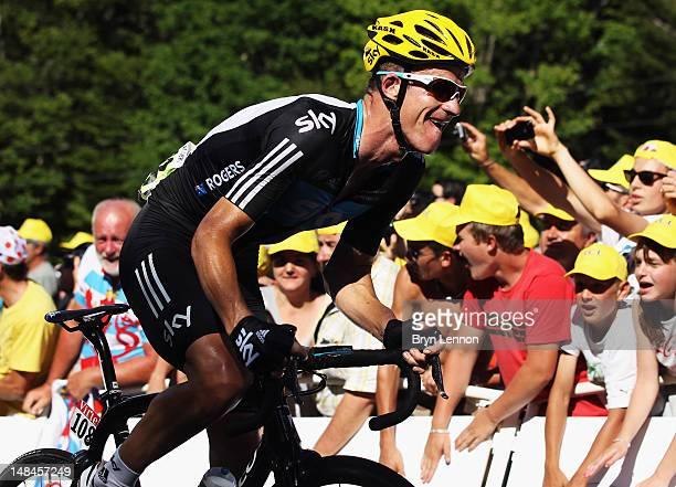 Michael Rogers of Australia and SKY Procycling rides up the final climb on stage seven of the 2012 Tour de France from Tomblaine to La Planche des...