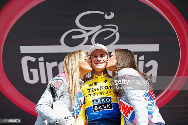 Michael Rogers of Australia and team TinkoffSaxo celebrates winning the twentieth stage of the 2014 Giro d'Italia a 167km high mountain stage between...