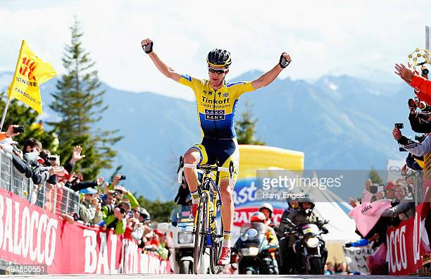 Michael Rogers of Australia and team TinkoffSaxo crosses the line to win the twentieth stage of the 2014 Giro d'Italia a 167km high mountain stage...