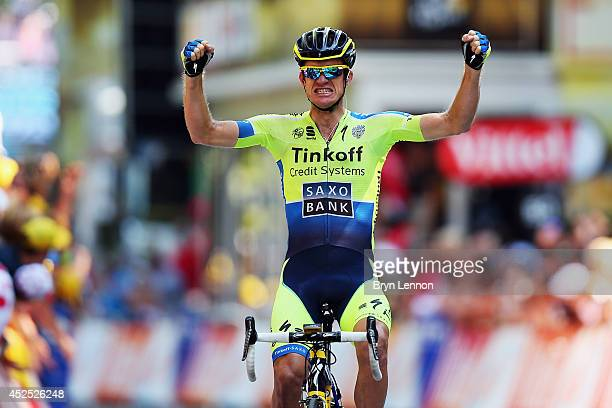 Michael Rogers of Australia and the TinkoffSaxo team celebrates winning stage 16 of the 2014 Tour de France a 238km stage between Carcassonne and...