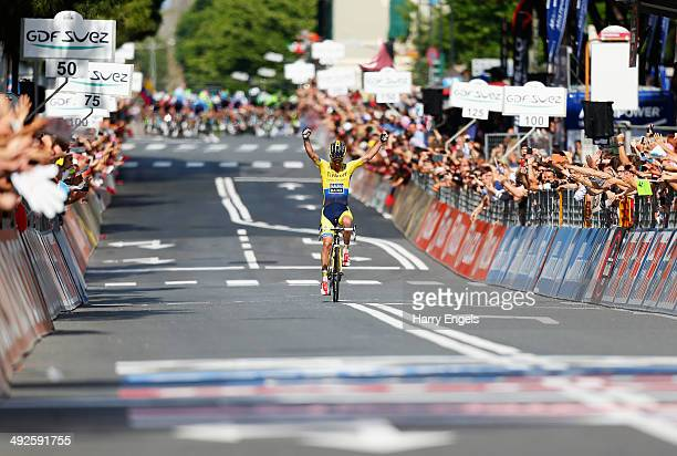 Michael Rogers of Australia and TinkoffSaxo celebrates winning the eleventh stage of the 2014 Giro d'Italia a 249km medium mountain stage between...