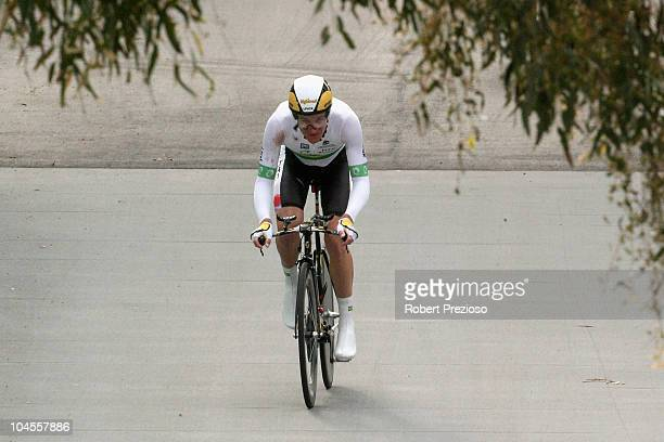 Michael Rogers of Australia competes in the Men's Elite Time Trial on day two of the UCI Road World Championships on September 30 2010 in Geelong...