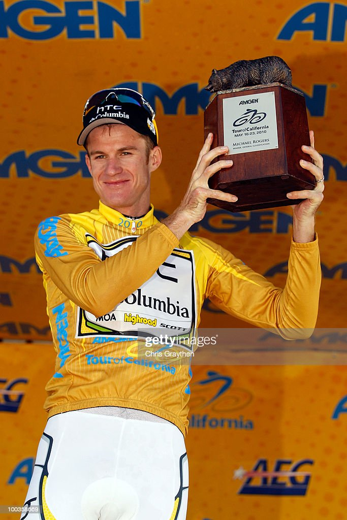 Michael Rogers of Australia, riding for HTC-Columbia celebrates on the podium after winning the Tour of California to on May 23, 2010 in Westlake Village, California.