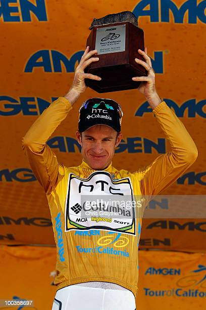 Michael Rogers of Australia riding for HTCColumbia celebrates on the podium after winning the Tour of California to on May 23 2010 in Westlake...