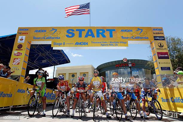 Michael Rogers of Australia riding for HTCColumbia in the golden leader's jersey waits for the start of the Tour of California on May 23 2010 in...