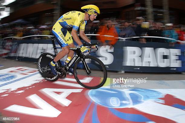 Michael Rogers of Australia riding for TinkoffSaxo competes in the individual time trial during Stage 6 of the 2014 USA Pro Challenge on August 23...