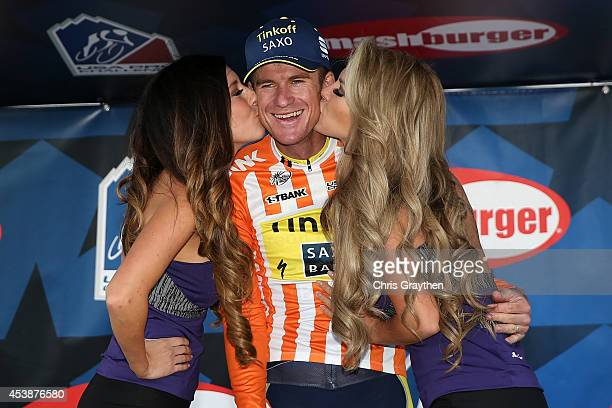 Michael Rogers of Australia riding for TinkoffSaxo in the orange most courageous rider jersey poses for a photo after stage three of the 2014 USA Pro...