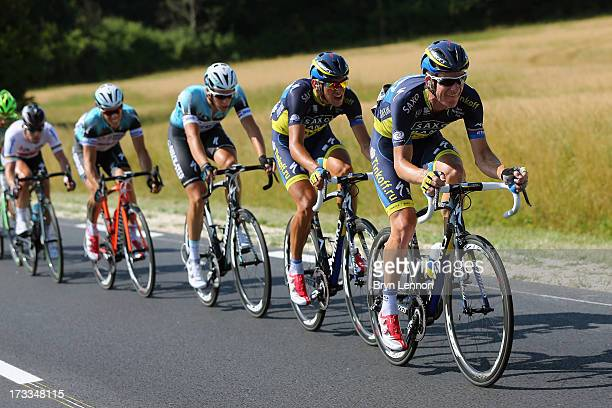 Michael Rogers of Team Saxo-Tinkoff drives the pace during stage thirteen of the 2013 Tour de France, a 173KM road stage from Tours to...