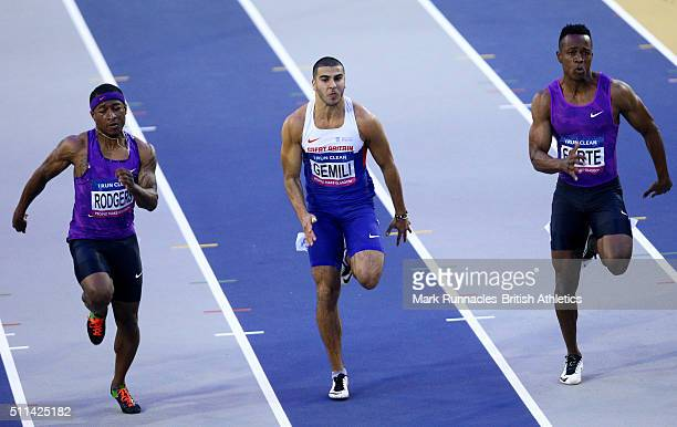 Michael Rogers of USA, Adam Gemili of Great Britain and Julian Forte of Jamaica competes Mens 60 metres heats during the Glasgow Indoor Grand Prix at...