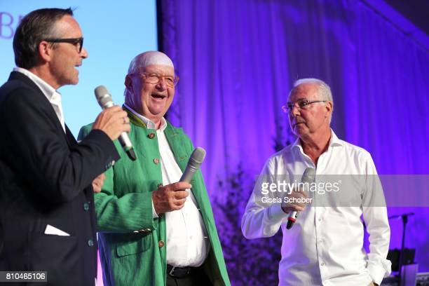 Michael Roll Alois Hartl Franz Beckenbauer during a bavarian evening ahead of the Kaiser Cup 2017 at the Quellness Golf Resort on July 7 2017 in Bad...