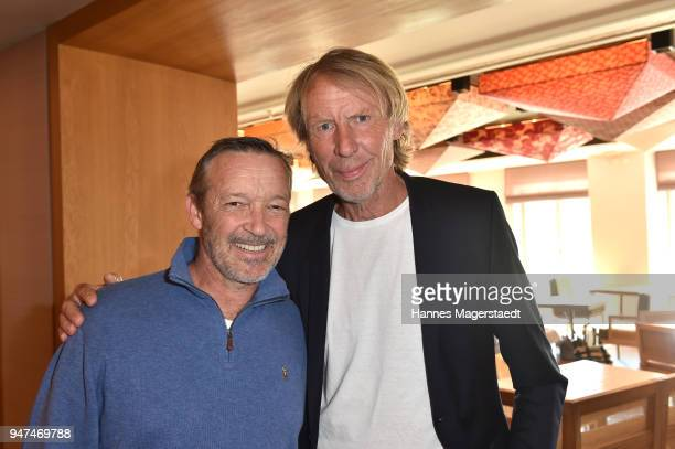 Michael Roll and Carlo Thraenhardt attend the celebration of the first Weltmatratzenwendetag at Hotel Louis on April 17 2018 in Munich Germany