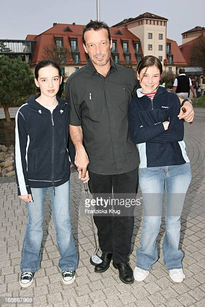 Michael Roll And His daughters Johanna And Sofia In The Founding Of A Pink Golf Club in Sport Spa Resort ARosa Scharmützel In Bad Saarow