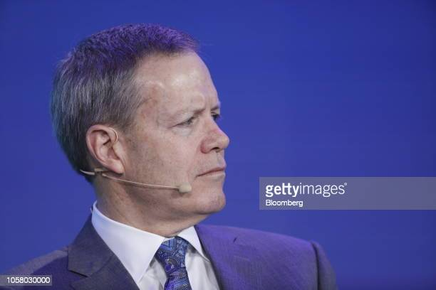 Michael Roman chief executive officer of 3M Co attends a panel discussion at the Bloomberg New Economy Forum in Singapore on Tuesday Nov 6 2018 The...