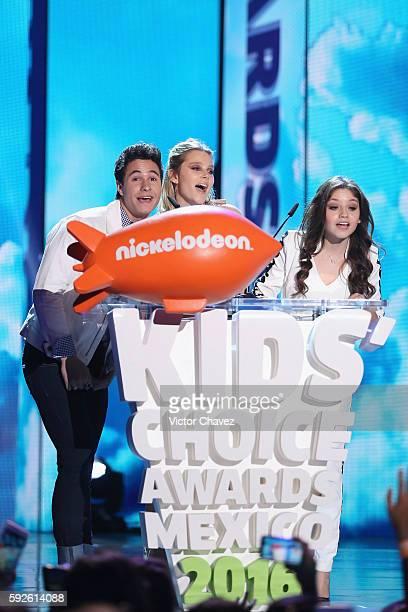 Michael Ronda Valentina Zenere and Karol Sevilla speak on stage during the Nickelodeon Kids' Choice Awards Mexico 2016 at Auditorio Nacional on...