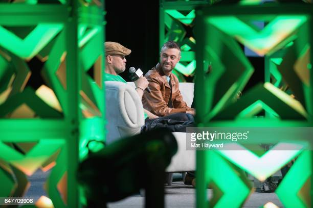 Michael Rooker and Sean Gunn speak on stage during Emerald City Comic Con at Washington State Convention Center on March 3 2017 in Seattle Washington