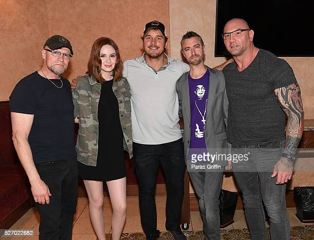 Michael Rooker Karen Gillan Chris Pratt Sean Gunn and Dave Bautista attend Captain America Civil War Atlanta Cast Filmmakers screening at The Fox...