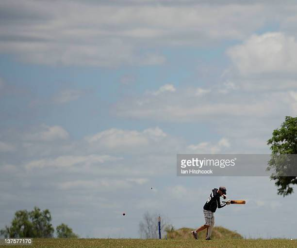Michael Rosemond from the team 'Poked United' is bowled during the 2012 Goldfield Ashes cricket competition on January 22 2012 in Charters Towers...