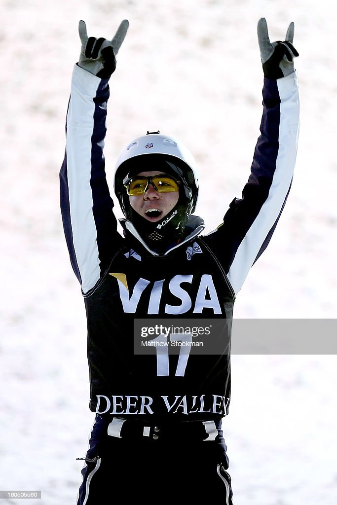 Michael Rossi #17 celebrates after his fiinal jump in the Mens Aerials during the Visa Freestyle International at Deer Valley on February 1, 2013 in Park City, Utah.