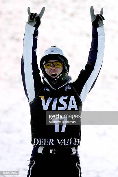 Michael Rossi celebrates after his fiinal jump in the Mens Aerials during the Visa Freestyle International at Deer Valley on February 1 2013 in Park...