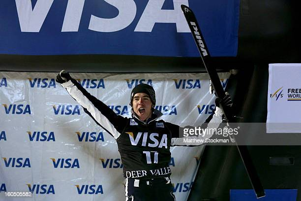 Michael Rossi celebrates his third place finish in the Mens Aerials during the Visa Freestyle International at Deer Valley on February 1 2013 in Park...