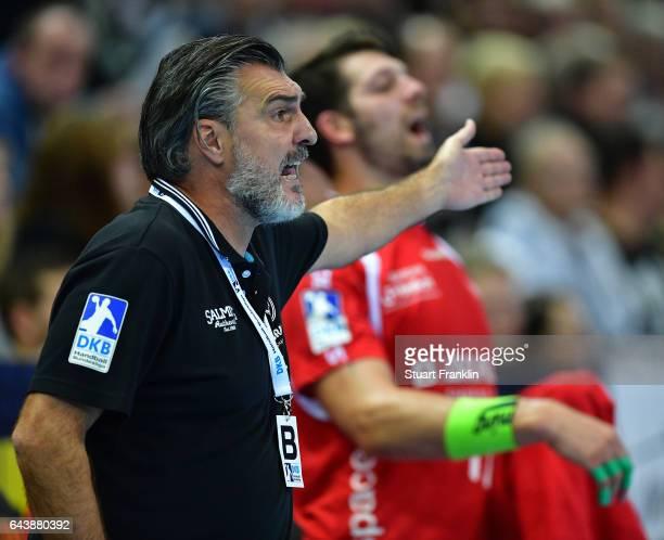 Michael Roth head coach of Melsungen gestures during the DKB Handball Bundesliga game between THW Kiel and MT Melsungen at Sparkassen Arena on...