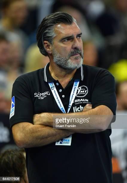 Michael Roth head coach of Melsungen ponders during the DKB Handball Bundesliga game between THW Kiel and MT Melsungen at Sparkassen Arena on...