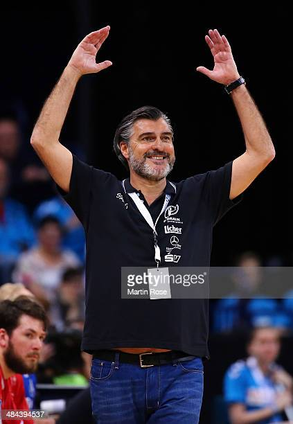 Michael Roth head coach of Melsungen reacts during the DHB Pokal handball semi final match between MT Melsungen and Fuechse Berlin at O2 World on...