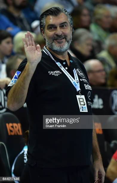 Michael Roth head coach of Melsungen reacts during the DKB Handball Bundesliga game between THW Kiel and MT Melsungen at Sparkassen Arena on February...