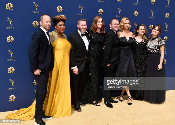 Michael Rubens Ashley Nicole Black Miles Kahn Alison Camillo Pat King Allana Harkin Melinda Taub and Amy Hoggart attend the 70th Emmy Awards at...