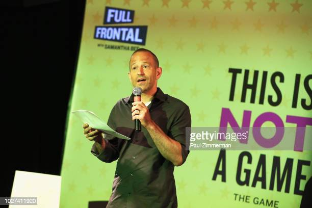 Michael Rubens speaks onstage during the Full Frontal With Samantha Bee Presents This Is Not A Game The Game press junket on September 5 2018 in New...