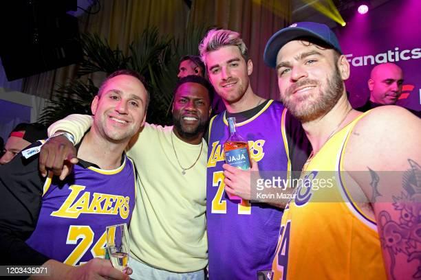 Michael Rubin Andrew Taggart and Alex Pall attend Michael Rubin's Fanatics Super Bowl Party at Loews Miami Beach Hotel on February 01 2020 in Miami...