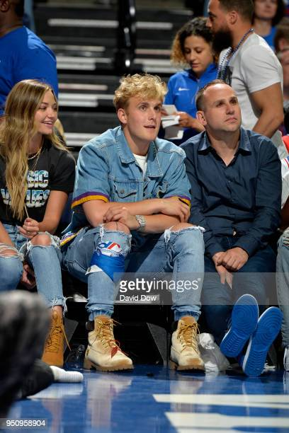 Michael Rubin Jake Paul and Erika Costell during the game between the Philadelphia 76ers and the Miami Heat in Game Five of Round One of the 2018 NBA...