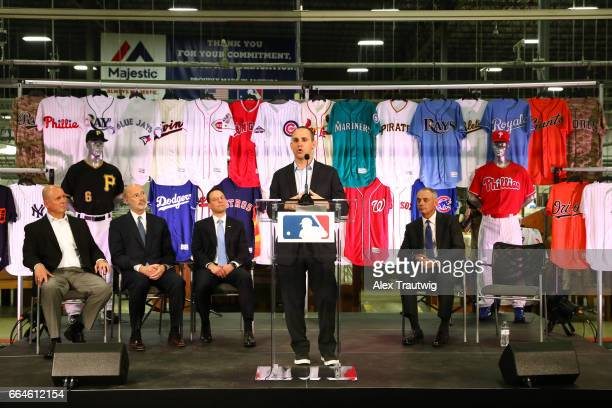 Michael Rubin Owner and Executive Chairman of Fanatics speaks during a joint announcement between Fanatics and VF Licensed Sports Group at the...