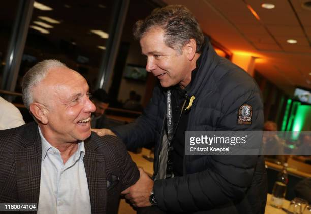 Michael Rummenigge and Andreas Moeller attend the Club Of Former National Players Meeting at Signal Iduna Park on October 09 2019 in Dortmund Germany