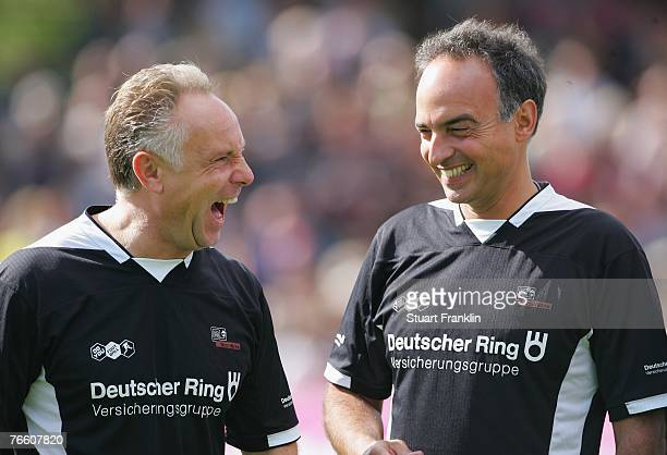 Michael Rummenigge and Hansi Mueller of the Germany team during the Day Of The Legends match at the Millentor stadium on September 9 2007 in Hamburg...
