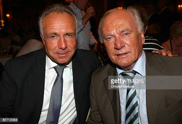 Michael Rummenigge and Udo Lattek are seen during the Day of Legends gala night at the Schmitz Tivoli theatre on September 7 2008 in Hamburg Germany
