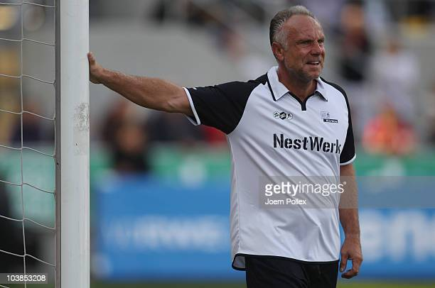 Michael Rummenigge of the team Germany is seen during the Day of Legends match between team Germany and the rest of the world and team Hamburg at the...