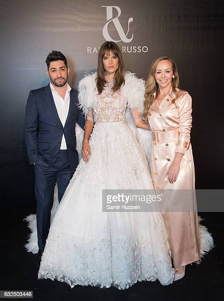 Michael Russo Alessandra Ambrosio and Tamara Ralph pose backstage at the RalphRusso Haute Couture Spring Summer 2017 show as part of Paris Fashion...