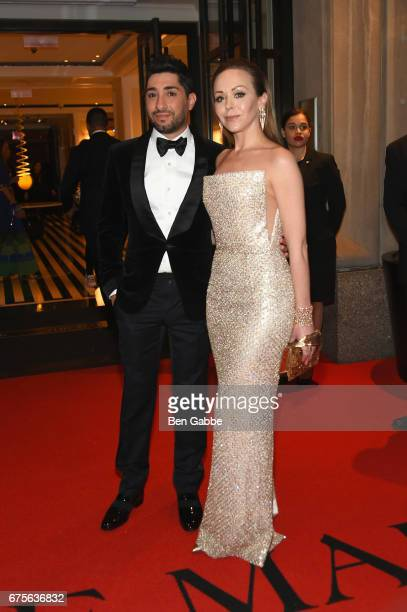 Michael Russo and Tamara Ralph leave from The Mark Hotel for the 2017 'Rei Kawakubo/Comme des Garçons Art of the InBetween' Met Gala on May 1 2017 in...